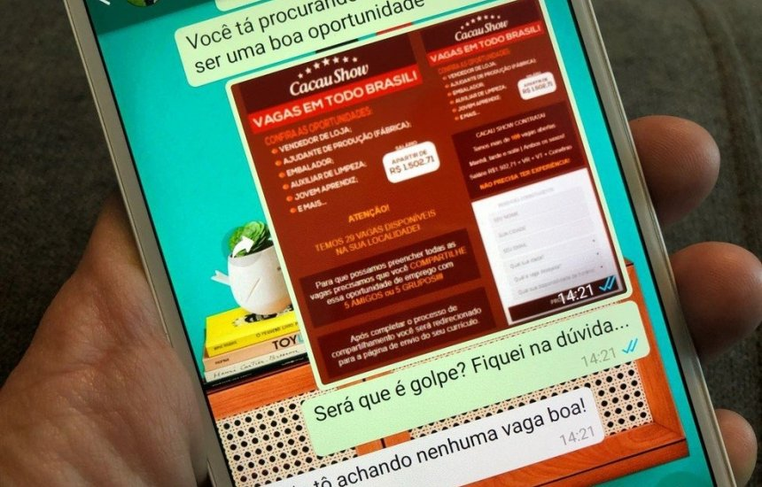 Golpe do emprego falso no WhatsApp cresce 174% em 2019