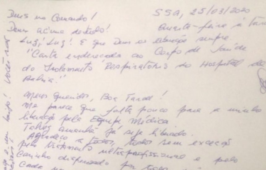 [Primeiro paciente curado do coronavírus em Salvador escreve carta]