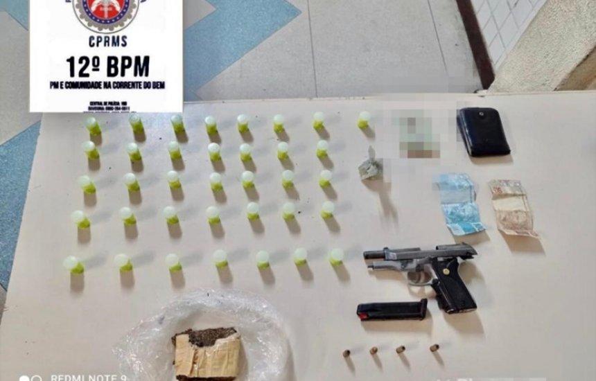 Homem é preso por tráfico de drogas e porte ilegal de arma de fogo em Camaçari