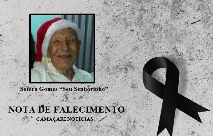 """[Nota de Pesar: amigos e familiares se despedem do Sr. Sotero Gomes, """"Seu Senhorinho""""]"""
