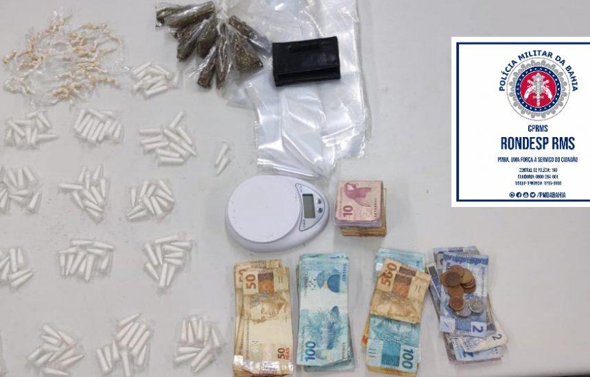 [Homem é preso em flagrante com drogas e dinheiro na orla de Camaçari]